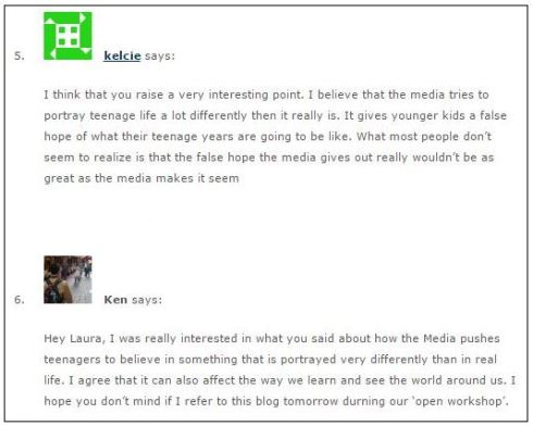 student blog comments